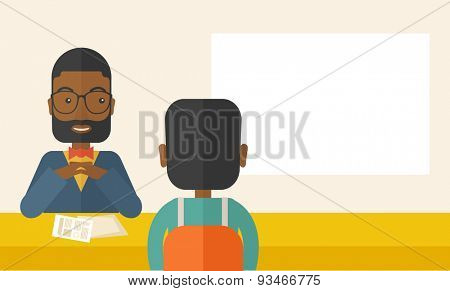 A smiling black human resource manager interviewed the applicant with his curriculum vitae for the job vacancy.  Employment, recruitment concept. A Contemporary style with pastel palette, soft beige