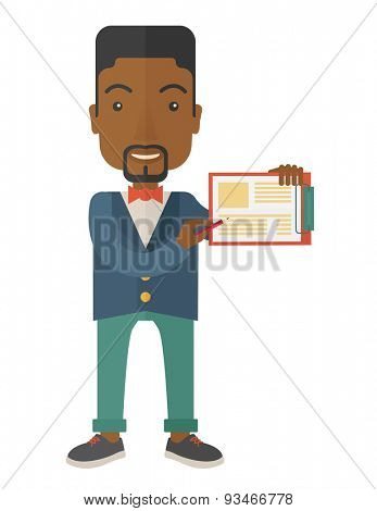 A handsome black guy wearing blue jacket holding his clipboard with paper where he wrote his report happily presenting his marketing plan. Marketing strategy concept. A Contemporary style. Vector flat