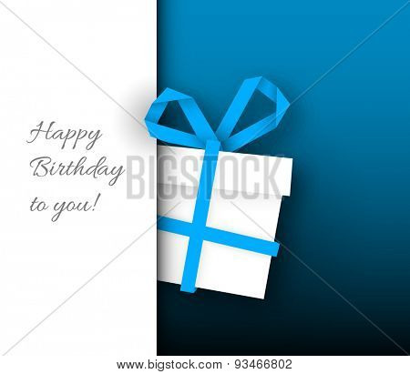 Vector minimalist Birthday card template with paper gift box and place for your text / wish