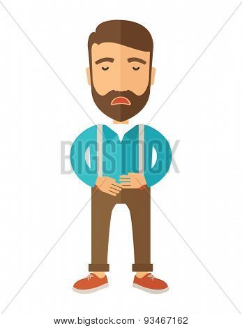 A sick man standing while holding his stomach has a abdominal pain. A Contemporary style. Vector flat design illustration isolated white background. Vertical layout.