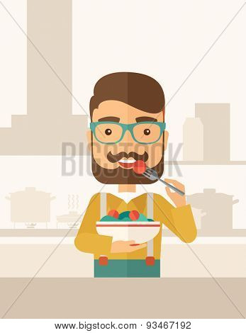 A hungry man eating meal with his fork and by carrying the bowl. Craving concept. A Contemporary style with pastel palette, soft beige tinted background. Vector flat design illustration. Vertical