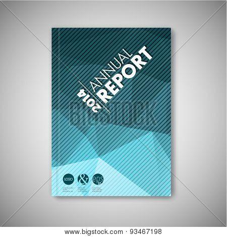 Modern Vector abstract brochure / book / flyer design template - blue polygon version
