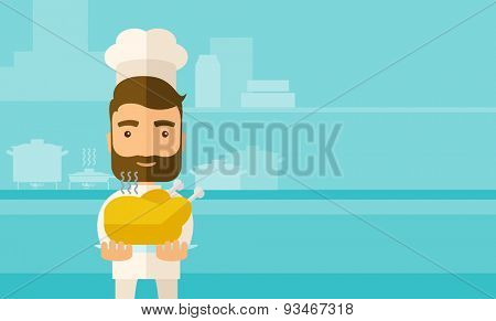 A young chef presenting a tasty cooked turkey for thanksgiving celebration. A contemporary style with pastel palette blue tinted background. Vector flat design illustration. Square layout.
