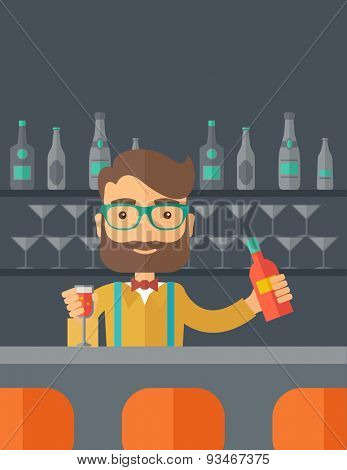 A young bartender preparing a mixed drimks at a bar, several bottles of alcohol and wine glass behind him. A contemporary style with pastel palette black tinted background. Vector flat design