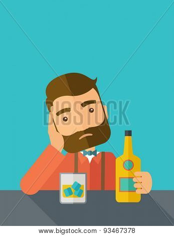 A caucasian sad man is having a problem drinking beer in the bar. Depressed concept. A contemporary style with pastel palette dark blue tinted background. Vector flat design illustration. Vertical