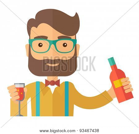 A young bartender preparing a mixed drinks at a bar, several bottles of alcohol and wine glass behind him. A Contemporary style. Vector flat design illustration isolated white background. Square