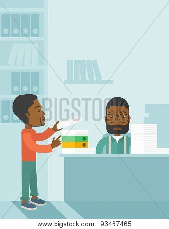 A black man standing giving a paper work to do to black man sitting, stressful man in office with stack of paper on his desk. Business concept in overload work and very busy. A contemporary style with