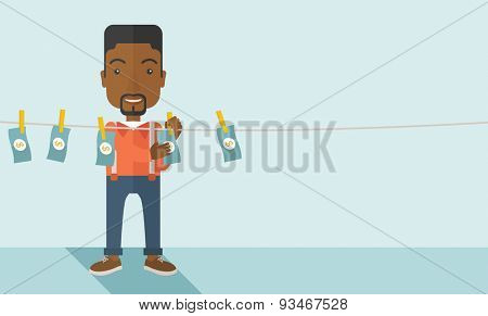 A black businessman standing hanging his money has a financial problem. He enter into money laundering business. Bankruptcy concept. A contemporary style with pastel palette soft blue tinted