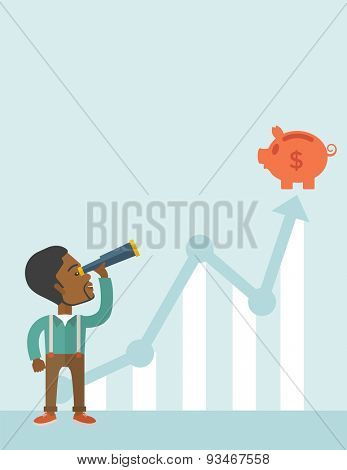 A black guy standing using telescope to see the graph and piggy bank is on the top of the arrow, a sign of progress as business sales is increase. Growing business concept. A contemporary style with