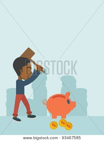 A black businessman standing while holding a hammer breaking piggy bank with dollar coins for financial assistance of his foreclosure business. Financial crisis concept. A contemporary style with