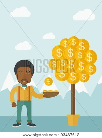 A successful african businessman standing while catching a dollar coin from money tree. Business growth concept. A contemporary style with pastel palette soft blue tinted background with desaturated