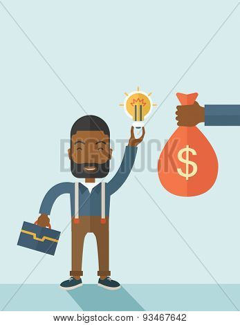 An african-american young man exchange his hand with idea bulb to hand of money bag. Exchanging concept. A contemporary style with pastel palette soft blue tinted background. Vector flat design