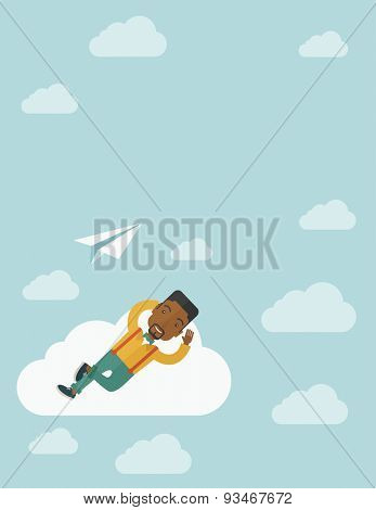 A black man is relaxing while lying on a cloud with paper plane. A contemporary style with pastel palette soft blue tinted background with desaturated clouds. Vector flat design illustration. Vertical