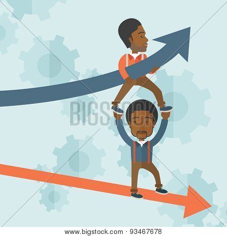 A two black guy helping with business arrows, blue up and red down and gears background. Teamwork concept. A contemporary style with pastel palette soft blue tinted background. Vector flat design