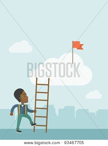 An african man standing while holding the career ladder to get the red flag in the cloud. Career, success concept.  A contemporary style with pastel palette soft blue tinted background with