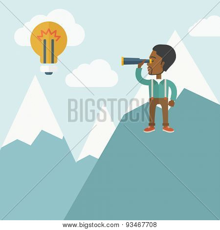 A black businessman holding telescope looking the bulb on the top of blue mountain with snow trying to get ideas on the sky. A contemporary style with pastel palette soft blue tinted background with