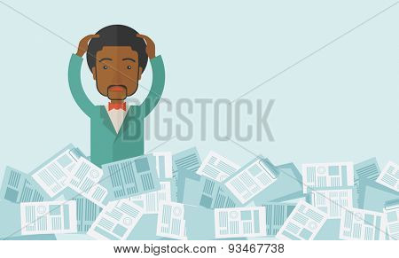 A black guy employee has a lot to do work with those papers around him and having a problem on how to meet the deadline of his report. Disappointment Concept. A contemporary style with pastel palette
