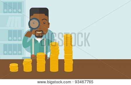 A black man looking his growing business in financial crisis concept. Economy and money, coin and success. A contemporary style with pastel palette soft blue tinted background. Vector flat design