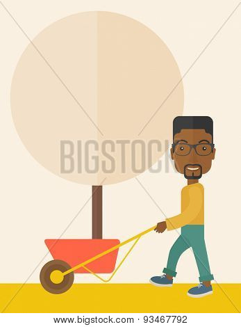 A young african man pushing the cart with green tree. Business growth concept. A Contemporary style with pastel palette, soft beige tinted background. Vector flat design illustration. Vertical layout.