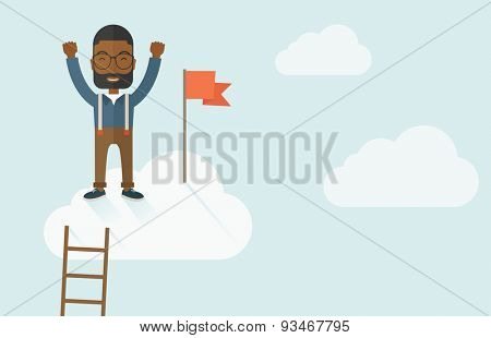 A black businessman climbed using the ladder and standing on the top of the cloud with red flag. Leadership concept. .  A contemporary style with pastel palette soft blue tinted background with