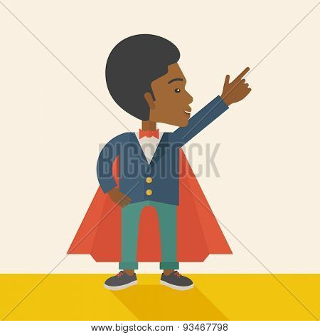 A hero african businessman pointing up high to the sky with success and vision to be number one in business. Motivation concept. A Contemporary style with pastel palette, soft beige tinted background