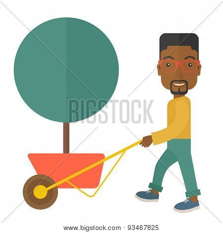 A young african man pushing the cart with green tree. Business growth concept. A Contemporary style. Vector flat design illustration isolated white background. Square layout.