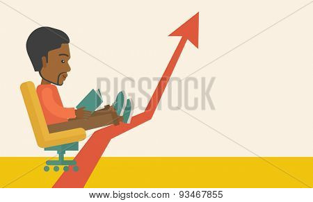 A Black guy sitting, relaxing in increasing business. Progress business concept. A Contemporary style with pastel palette, soft beige tinted background. Vector flat design illustration. Horizontal
