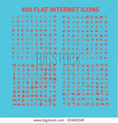 400 flat website, web, internet icons, signs, illustrations set, vector