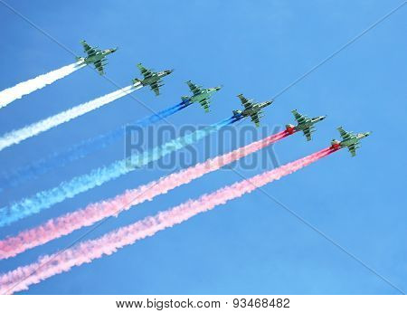 Aircraft Contrails With Tricolor