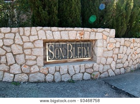 Entrance sign at the Son Bleda rural hotel