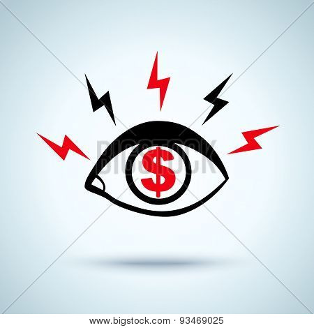 eye and dollar sign