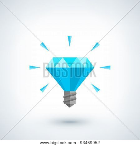 Brilliant idea concept. Light bulb polygonal vector icon.