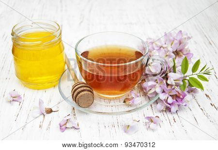 Cup Of Tea, Honey And Acacia Flowers