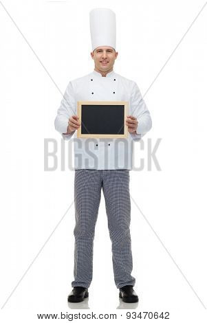 cooking, profession, advertisement and people concept - happy male chef cook showing and holding blank menu board