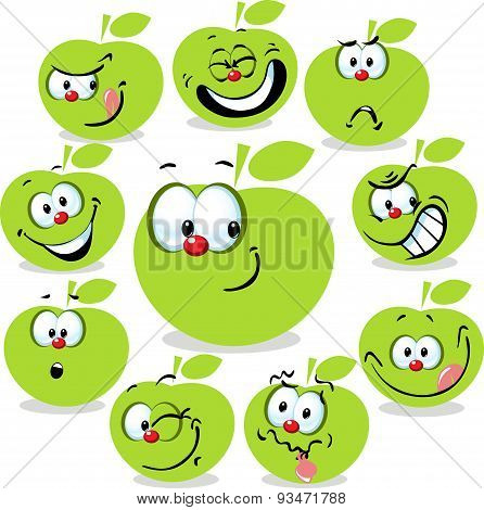 Green Apple Icon Cartoon With Funny Faces Isolated On White