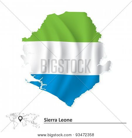 Map of Sierra Leone with flag - vector illustration