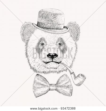 Sketch Panda Face With Black Bowler Hat, Bow Tie And Tobacco Pipe. Hand Drawn Doodle Vector Illustra