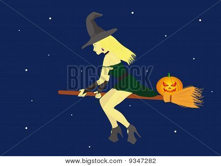Witch On A Broom With Pumkin