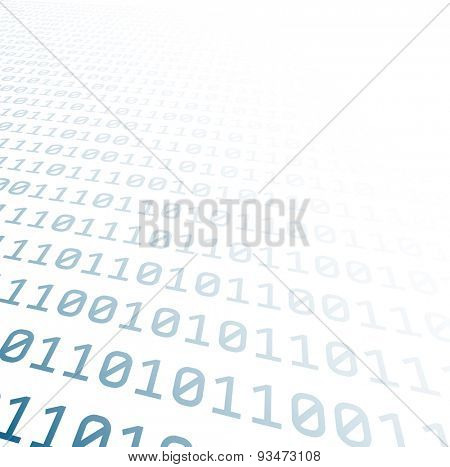 Binary perspective background with blue digits. Vector illustration.