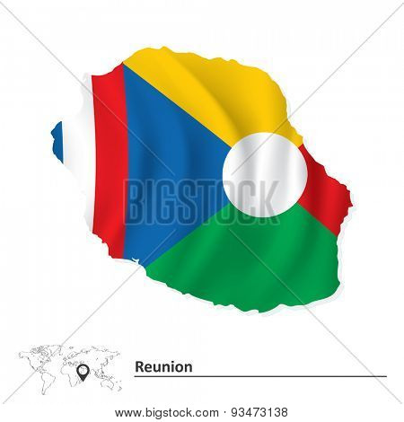 Map of Reunion with flag - vector illustration
