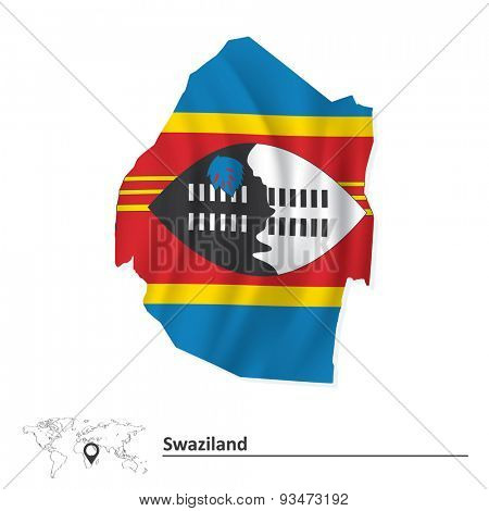 Map of Swaziland with flag - vector illustration