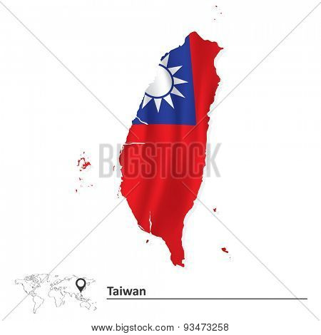 Map of Taiwan with flag - vector illustration