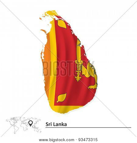 Map of Sri Lanka with flag - vector illustration
