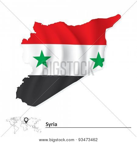 Map of Syria with flag - vector illustration