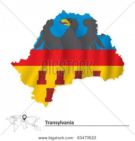 Map of Transylvania with flag - vector illustration