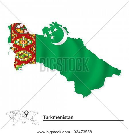 Map of Turkmenistan with flag - vector illustration
