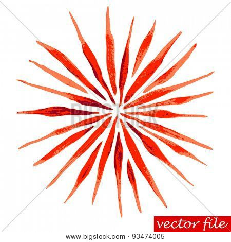 Red Watercolor Vector Sunburst Flower