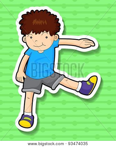 Sticker of a boy stretching his arm and leg