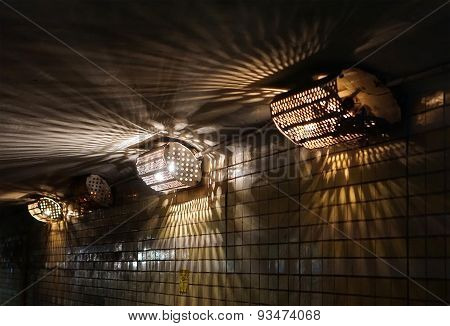 Old Electric Lamps In Underground