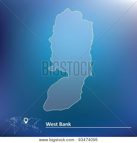 Map of West Bank - vector illustration